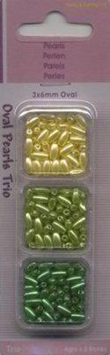 Trio doosje parels 3x6 mm geel/ groen