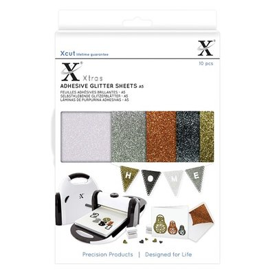Docrafts - Xcut Xtras' A5 Adhesive Glitter Sheets (10pcs) Metallics