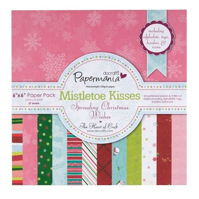 6x6 paper pack & die cut shapes 160gsm - mistletoe kisses (27pk)