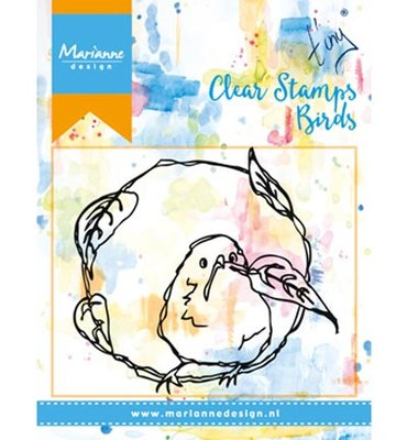 Marianne design, Clear Stamp  -  Bird & leaves