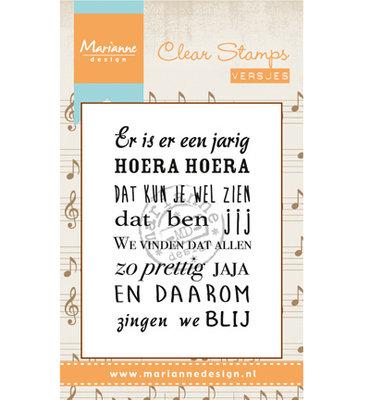 Marianne design, Clear Stamp  -  Liedje: Er is er een jarig