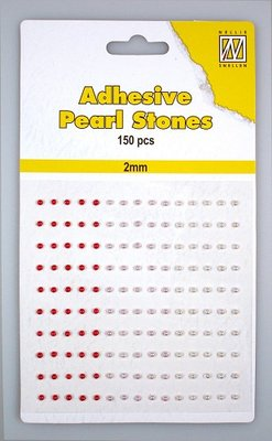 150 Adhesive pearls 2mm, 3-colors - Red