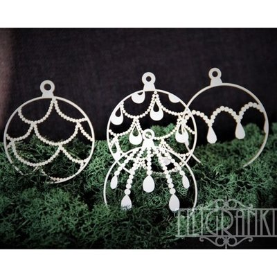 Filigranki Laser Cut Chipboards CHRISTMAS BALLS set 4 pcs