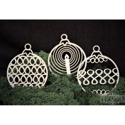 Filigranki Laser Cut Chipboards CHRISTMAS LACE BALLS set 3 pcs
