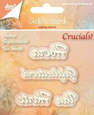 Joy! stencil tekst Hoera-Gefeliciteerd-Van Harte 6002/6000