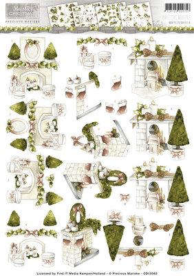 3D Knipvel - Precious Marieke - Rustic Christmas - Fireplace cd10563