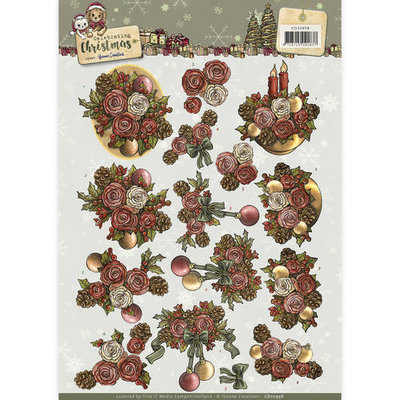 3D Knipvel - Yvonne Creations - Celebrating Christmas- Flowers  cd10958