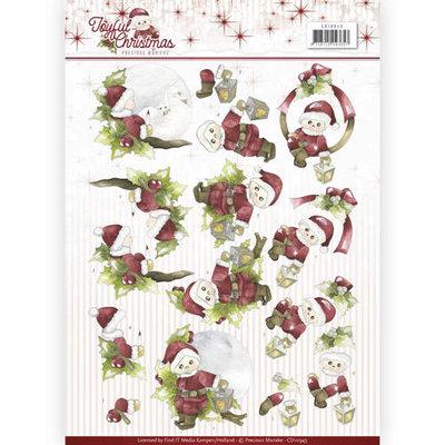 3D Knipvel - Precious Marieke - Joyful Christmas - Santa on branch  cd10943
