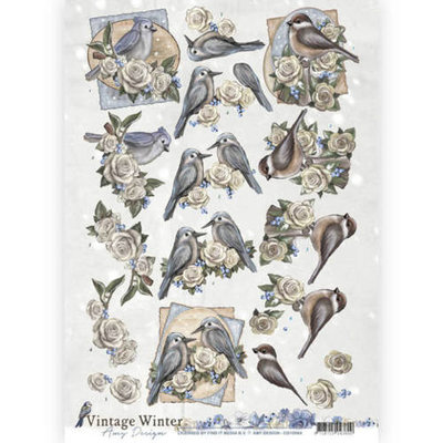 3D knipvel - Amy Design - Vintage winter - Winterbirds  cd10984