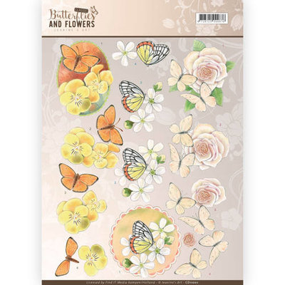 3D Knipvel - Jeanine's Art - Classic Butterflies and Flowers - Yellow Flowers cd11001