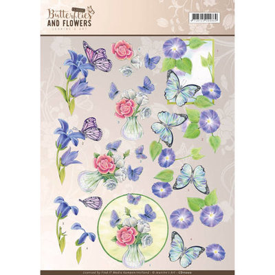 3D Knipvel - Jeanine's Art - Classic Butterflies and Flowers - Blue Flowers cd11000
