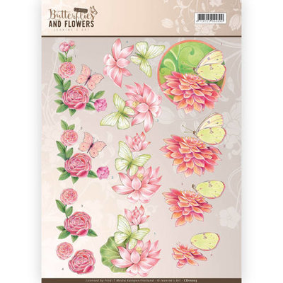 3D Knipvel - Jeanine's Art - Classic Butterflies and Flowers - Pink Flowers cd11003