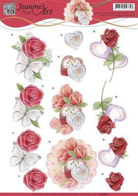 CD10981 3D knipvelJeanine's Art-Roses and Hearts