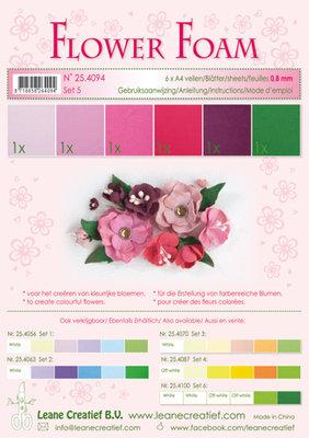 LCR25.4094 Flower foam assortment set 5 red-pink