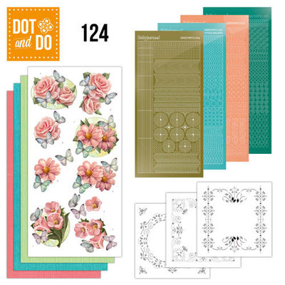 Dot and Do 124 - Pink flowers and butterflies DODO124