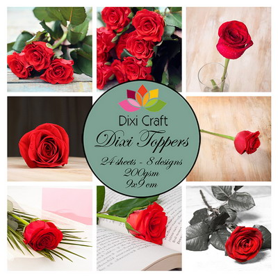 Mini toppers set 9x9 cm roses