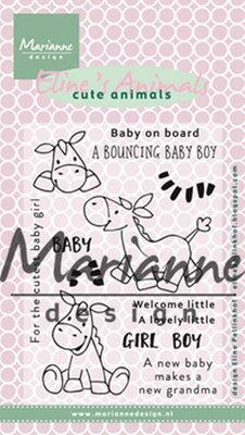 Marianne design, Clear Stamp Eline's zebra & donkey EC0170