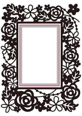 Embossing folder & die cut rectangle floral HSFED004