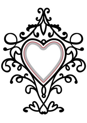 Embossing folder & die cut heart swirls HSFED003