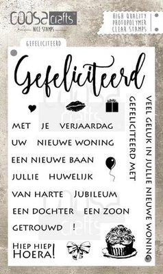 COC-021 COOSA Crafts clearstamps A6 - Gefeliciteerd A6 (NL) COC-021
