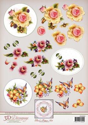 Ann's Paper Art 3D Decoupage Sheet Spring Flowers APA3D024