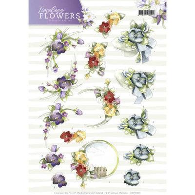 3D Knipvel - Precious Marieke - Timeless Flowers - Violets CD11083