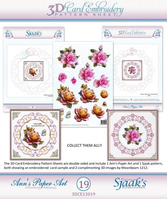 10x 3D Card Embroidery Pattern Sheets with Ann & Sjaak  3DCE13019