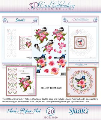 10x 3D Card Embroidery Pattern Sheets with Ann & Sjaak  3DCE13020