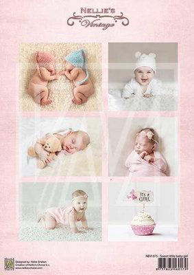 @ 10x 3D vel Vintage baby-serie sweet baby girl NEVI-075