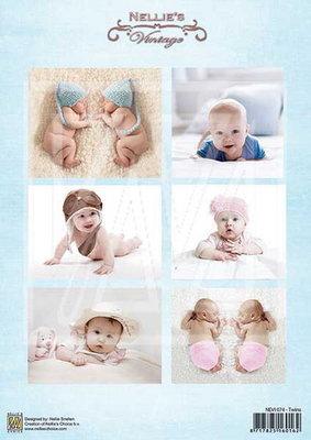 @ 10x 3D vel Vintage baby-serie twins NEVI-074