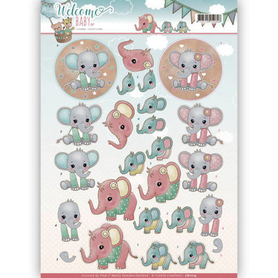 3D-Knipvel - Yvonne Creations - Welcome Baby - Little Elephants CD11115