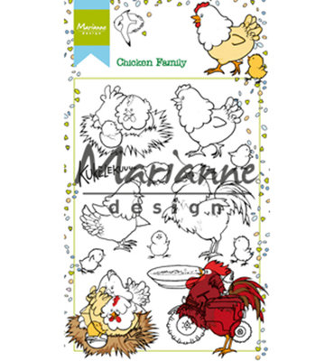 Marianne design, Clear Stamp -HT1631 - Hetty's chicken family