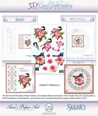 3D knipvel - Ann's Paperart - 3D Card Embroidery Pattern Sheet #20 with Ann & Sjaak 3DCE13020