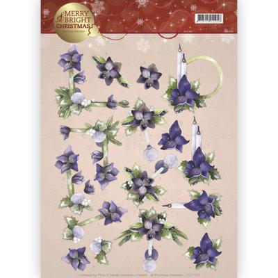 3D knipvel - Precious Marieke - Merry and Bright - Amaryllis in purple CD11120