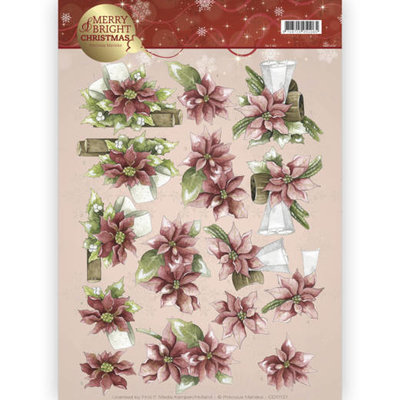 3D knipvel - Precious Marieke - Merry and Bright - Poinsettia in red CD11121