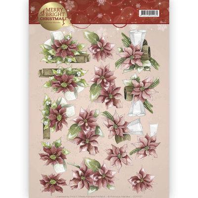 3D knipvel - Precious Marieke - Merry and Bright - Poinsettia in red CD11121