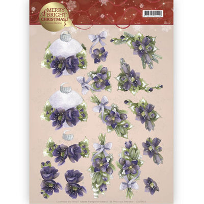 3D knipvel - Precious Marieke - Merry and Bright -Bouquets in purple CD11123