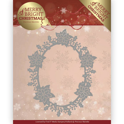 Dies - Precious Marieke - Merry and Bright Christmas - Poinsettia Oval PM10126