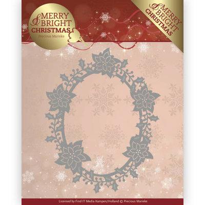 Dies - Precious Marieke - Merry and Bright Christmas - Poinsettia Oval PM10126