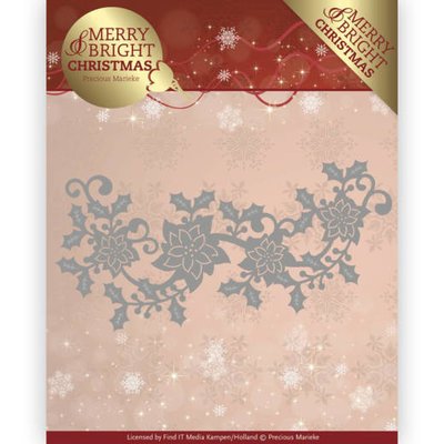 Dies - Precious Marieke - Merry and Bright Christmas - Poinsettia Border PM10129