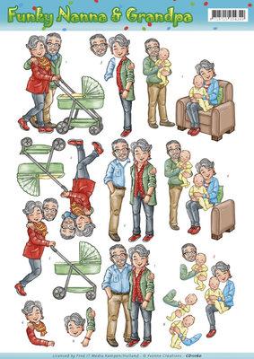 3D knipvel - Yvonne Creations - Funky Nanna and Grandpa - Babysitting CD11159