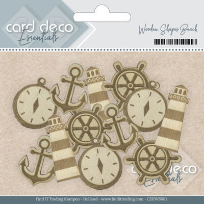 Card Deco Essentials - Wooden Shapes Beach CDEWS001