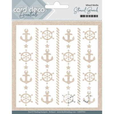 Card Deco Essentials - Mixed Media Stencil Beach CDEST001