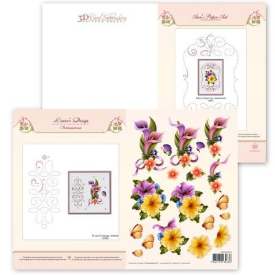 3D Card Embroidery Pattern Sheet #21 with Ann & Laura 3DCE13021