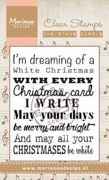 Marianne design, Clear Stamp kerstlied , christmas carol White Christmas