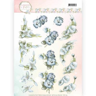 3D Knipvel - Precious Marieke - Flowers in Pastels - True Blue CD11139