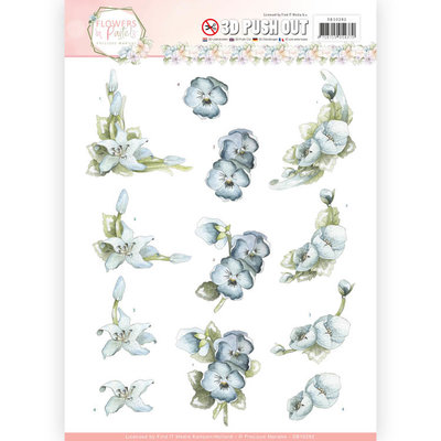 3D Pushout  - Precious Marieke - Flowers in Pastels - True Blue SB10282