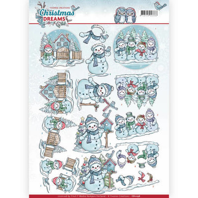 3D Knipvel - Yvonne Creations - Christmas Dreams - Snowman CD11136