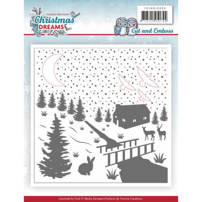 Cut & Embossing Folder - Yvonne Creations - Christmas Dreams YCEMB10009