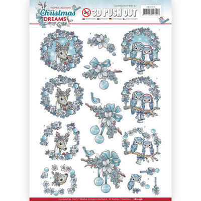 3D Pushout - Yvonne Creations - Christmas Dreams - Christmas Animals SB10276